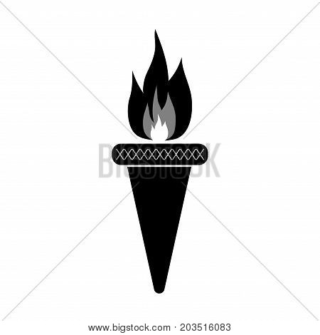 Torch sign. Olympic flame symbol. Monochrome icon isolated on white background. Achievement flat mark. Sport event concept. Modern art scoreboard. Stock vector illustration