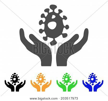 Biotechnology icon. Vector illustration style is a flat iconic biotechnology symbol with black, gray, green, blue, yellow color variants. Designed for web and software interfaces.