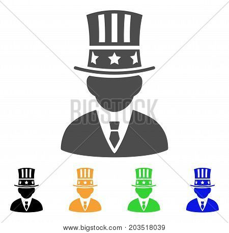 Capitalist icon. Vector illustration style is a flat iconic capitalist symbol with black, gray, green, blue, yellow color versions. Designed for web and software interfaces.