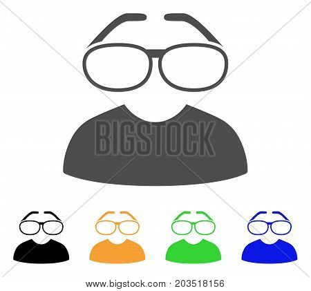 Clever Spectacles icon. Vector illustration style is a flat iconic clever spectacles symbol with black, grey, green, blue, yellow color versions. Designed for web and software interfaces.