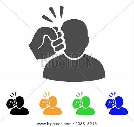 Crime Violation Fist Strike icon. Vector illustration style is a flat iconic crime violation fist strike symbol with black, gray, green, blue, yellow color versions.