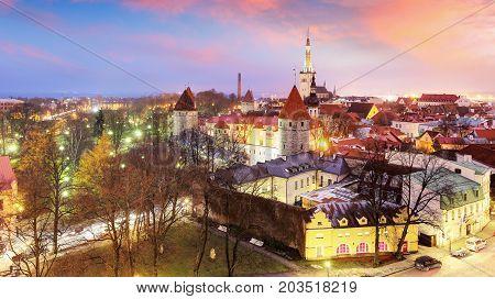 Aerial view of Tallinn Medieval Old Town with St. Olaf's Church and Tallinn City Wall. Tallinn Estonia