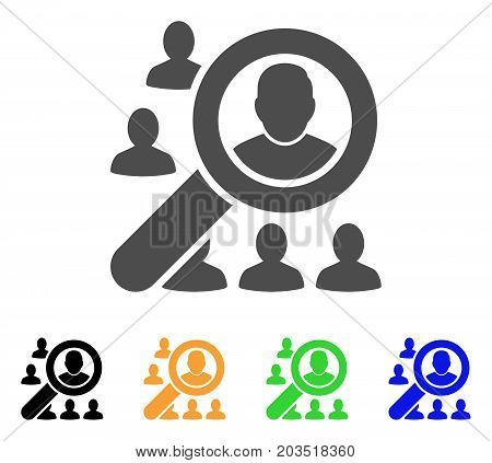 Find User icon. Vector illustration style is a flat iconic find user symbol with black, grey, green, blue, yellow color variants. Designed for web and software interfaces.