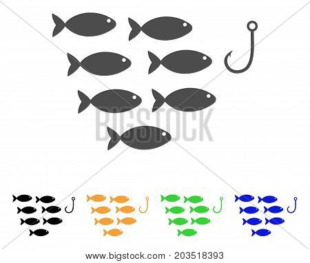 Fish Hook icon. Vector illustration style is a flat iconic fish hook symbol with black, grey, green, blue, yellow color variants. Designed for web and software interfaces.