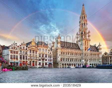 Brussels rainbow over Grand Place Belgium nobody