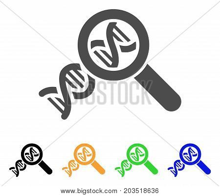 Genetics icon. Vector illustration style is a flat iconic genetics symbol with black, gray, green, blue, yellow color versions. Designed for web and software interfaces.