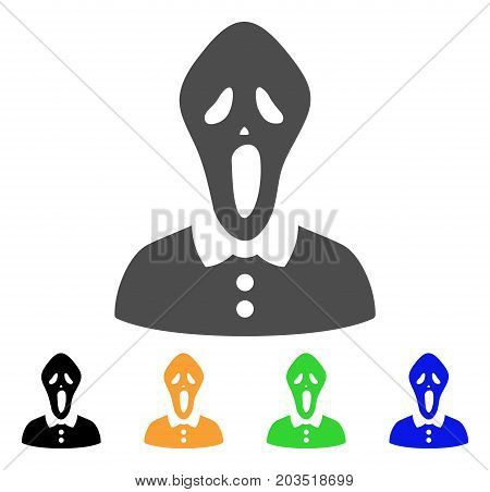 Horror icon. Vector illustration style is a flat iconic horror symbol with black, grey, green, blue, yellow color variants. Designed for web and software interfaces.