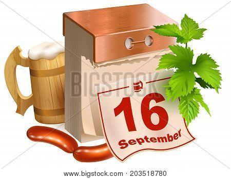 September 16, 2017 Oktoberfest. Beer festival symbols wooden beer mug, green leaves hop, tear-off calendar, fried sausages. Isolated on white vector cartoon 3d realistic illustration