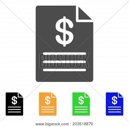 Price List icon. Vector illustration style is a flat iconic price list symbol with black, grey, green, blue, yellow color versions. Designed for web and software interfaces.