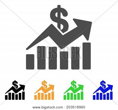 Sales Bar Chart Trend icon. Vector illustration style is a flat iconic sales bar chart trend symbol with black, grey, green, blue, yellow color versions. Designed for web and software interfaces.