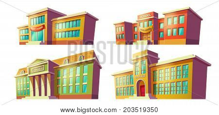 Set of college and school buildings with back to school banner over door cartoon illustration drawn in perspective isolated on white background. City modern educational institutions vector elements