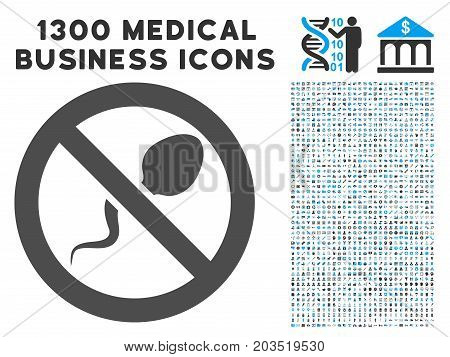Contraception gray vector icon with 1300 medical commerce icons. Clipart style is flat bicolor light blue and gray pictograms.