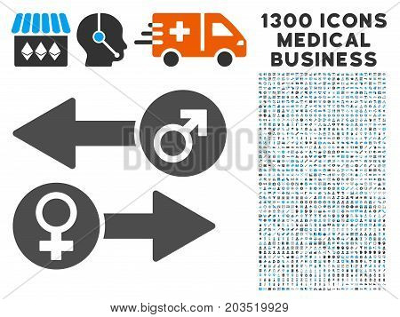 Gender Exchange grey vector icon with 1300 health care commerce pictographs. Clipart style is flat bicolor light blue and gray pictograms.