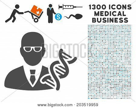 Geneticist grey vector icon with 1300 health care business pictographs. Set style is flat bicolor light blue and gray pictograms.