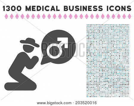 Gentleman Pray For Potence grey vector icon with 1300 health care commercial pictographs. Collection style is flat bicolor light blue and gray pictograms.