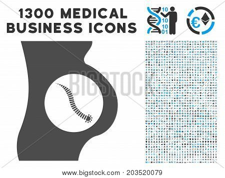 Intestinal Parasite grey vector icon with 1300 medical business pictographs. Clipart style is flat bicolor light blue and gray pictograms.