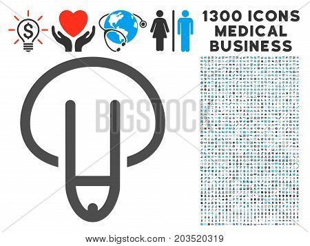Male Genitals Down gray vector icon with 1300 medicine commerce pictograms. Set style is flat bicolor light blue and gray pictograms.
