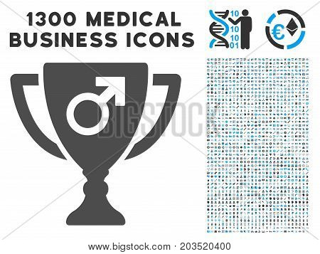 Male Power Award Cup gray vector icon with 1300 clinic commercial pictograms. Collection style is flat bicolor light blue and gray pictograms.