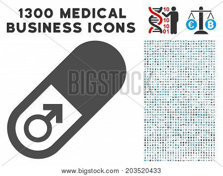 Male Power Pill grey vector icon with 1300 clinic commercial pictograms. Clipart style is flat bicolor light blue and gray pictograms.