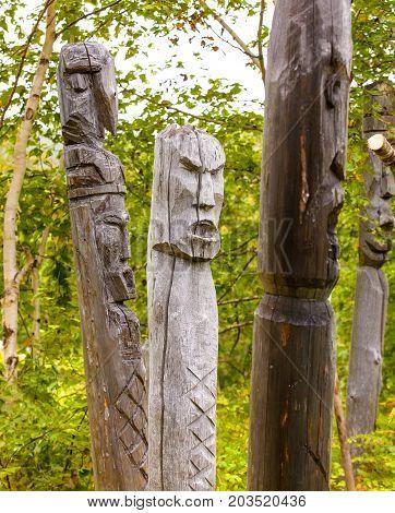 totem poles of the aborigines of Kamchatka: Itel'men and Koryak