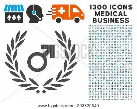 Male Symbol Laurel Wreath grey vector icon with 1300 healthcare business pictograms. Set style is flat bicolor light blue and gray pictograms.