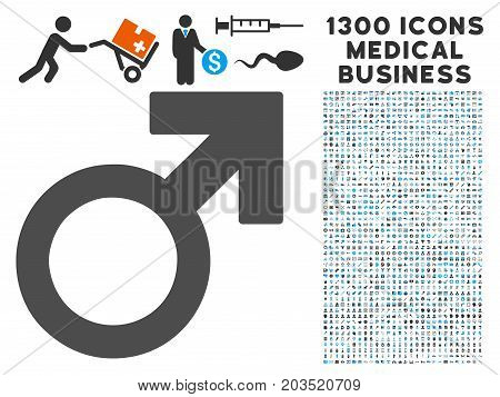Male Symbol grey vector icon with 1300 doctor commercial pictograms. Collection style is flat bicolor light blue and gray pictograms.