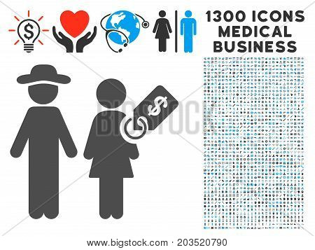 Marriage Of Convenience gray vector icon with 1300 medical commercial pictographs. Collection style is flat bicolor light blue and gray pictograms.