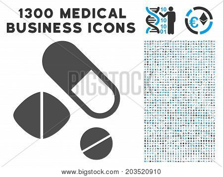 Medication Pills grey vector icon with 1300 medicine business symbols. Set style is flat bicolor light blue and gray pictograms.