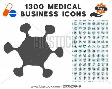 Parasite Cell gray vector icon with 1300 clinic commercial icons. Collection style is flat bicolor light blue and gray pictograms.