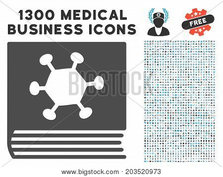Parasite Encyclopedia grey vector icon with 1300 healthcare commercial icons. Collection style is flat bicolor light blue and gray pictograms.