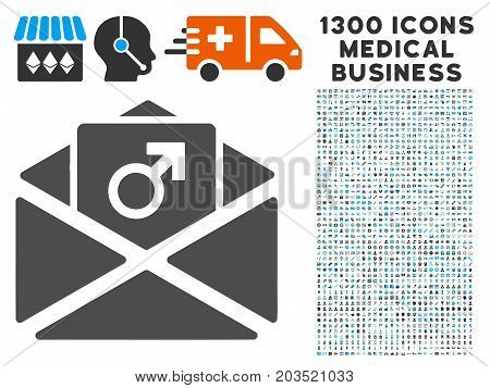 Penis Enhancement Spam grey vector icon with 1300 health care business pictograms. Clipart style is flat bicolor light blue and gray pictograms.
