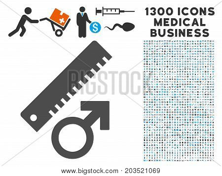 Penis Measure grey vector icon with 1300 medicine commerce icons. Clipart style is flat bicolor light blue and gray pictograms.