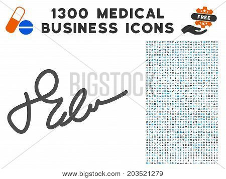 Signature gray vector icon with 1300 health care commerce icons. Set style is flat bicolor light blue and gray pictograms.