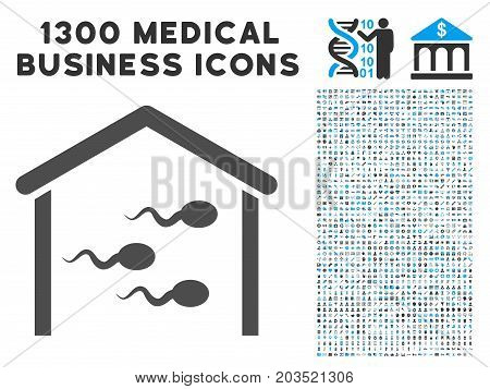 Sperm Bank gray vector icon with 1300 health care business symbols. Collection style is flat bicolor light blue and gray pictograms.