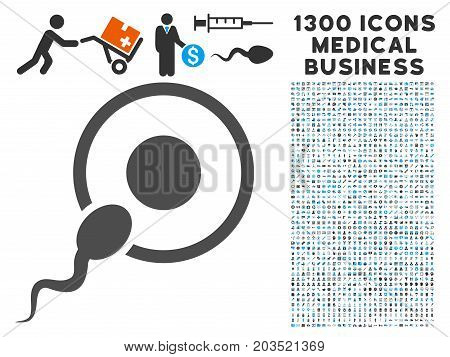 Sperm Insemination gray vector icon with 1300 medicine commerce pictographs. Set style is flat bicolor light blue and gray pictograms.
