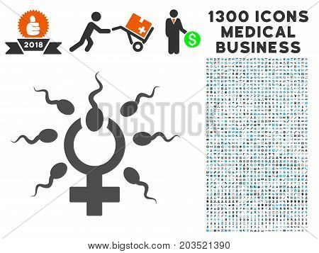 Sperm Penetration gray vector icon with 1300 clinic commercial pictograms. Clipart style is flat bicolor light blue and gray pictograms.