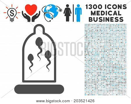 Sperm Prevention Condom grey vector icon with 1300 clinic commerce icons. Set style is flat bicolor light blue and gray pictograms.