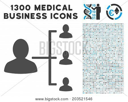 User Scheme gray vector icon with 1300 healthcare commerce symbols. Clipart style is flat bicolor light blue and gray pictograms.