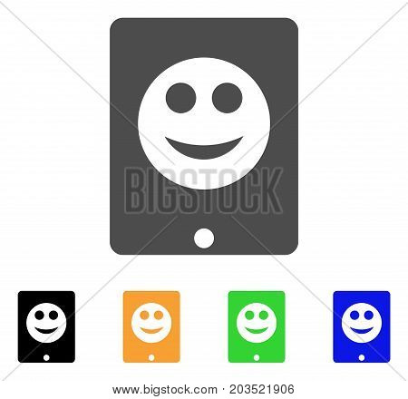 Pad Smile icon. Vector illustration style is a flat iconic pad smile symbol with black, grey, green, blue, yellow color versions. Designed for web and software interfaces.