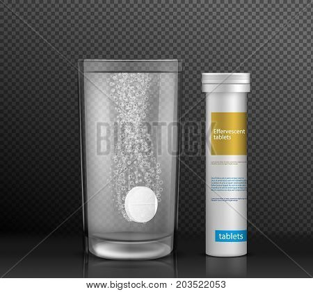 Effervescent round tablet dissolving with bubbles in glass of water standing on glossy surface near pill cylinder container with brand information realistic vector isolated on transparent background.