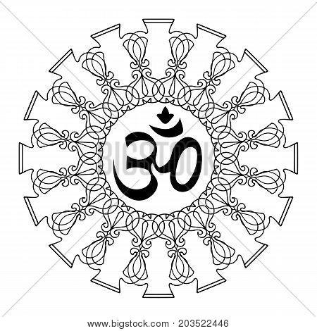 Diwali Ohm symbol with mandala. Isolated on white background. Vector