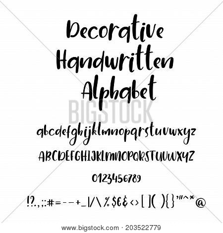 Handwritten alphabet and numbers. Vector brush style font isolated on white background. Lowercase, uppercase calligraphy letters, numbers