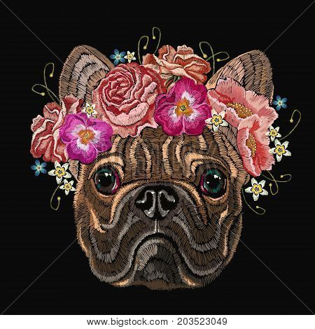 Embroidery french bulldog and beautiful bouquet of flowers. Classical embroidery head bulldog rose peonies fashionable design for clothes t-shirt design