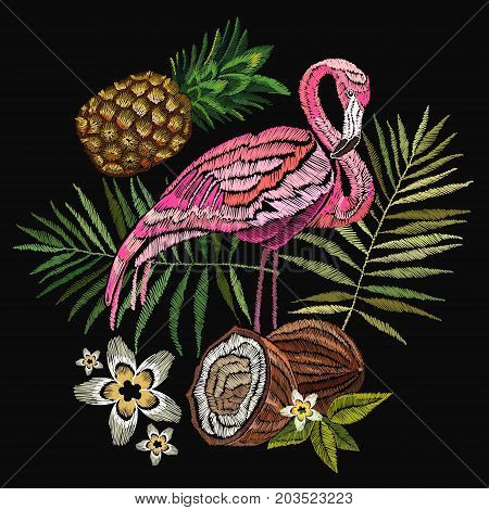 Embroidery flamingo palm tree leaves pineapple coconut tropical art. Fashionable embroidery pink flamingos tropical summer background. Fashionable template for design of clothes
