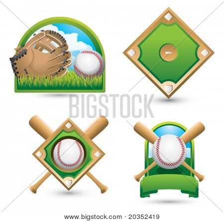 Baseball and glove on grass, baseball diamond, baseball diamond with crossed bats, and baseball with crossed bats in a green banner