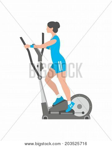 Woman running on elliptical machine. Isolated white background. Flat style