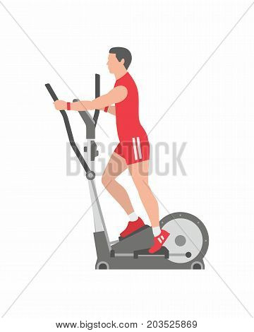 Man running on elliptical machine. Isolated white background. Flat style