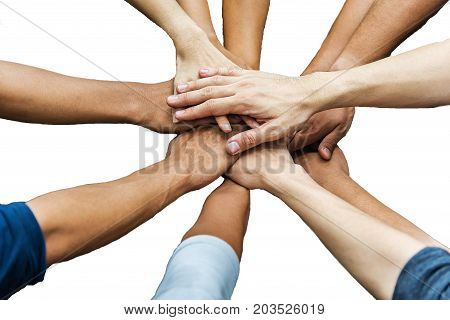 Group of business people hands in solidarity teamwork concept; on white background