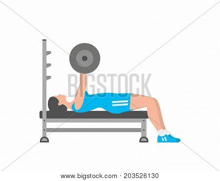 Woman pumping up muscles on bench press