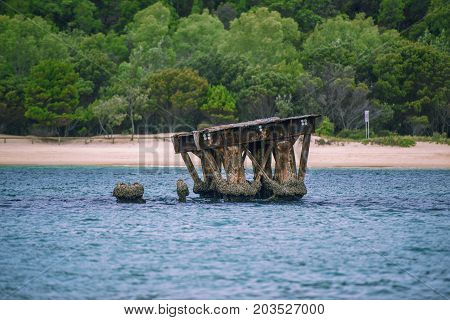 Sunk Shipwrecks At Tangalooma Island In Moreton Bay
